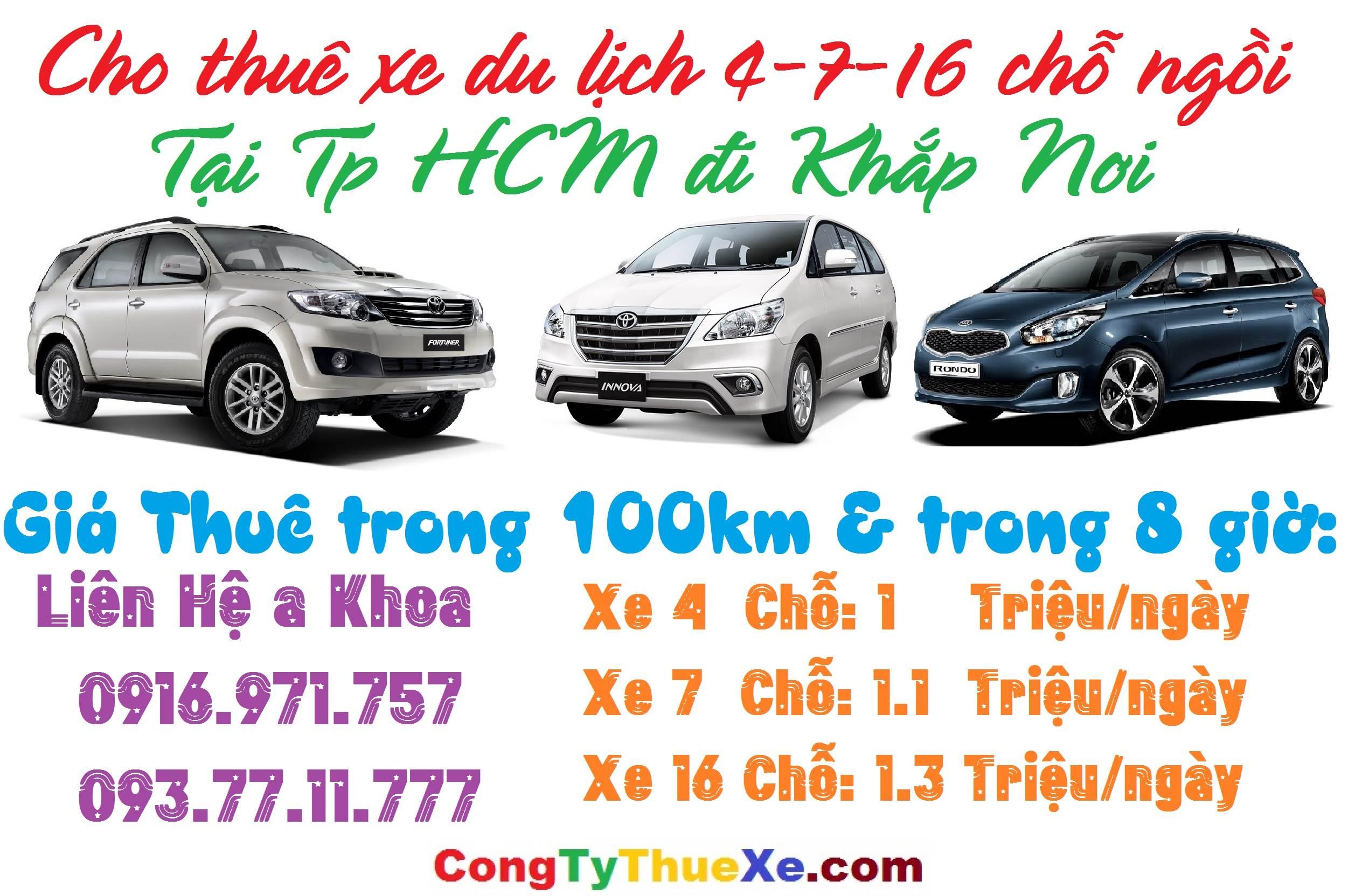 CHo thuê xe du lịch 4-7-16 chỗ ở TP HCM