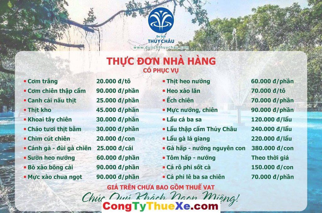 Giá đồ ăn nhà hàng tại du lịch Thủy Châu
