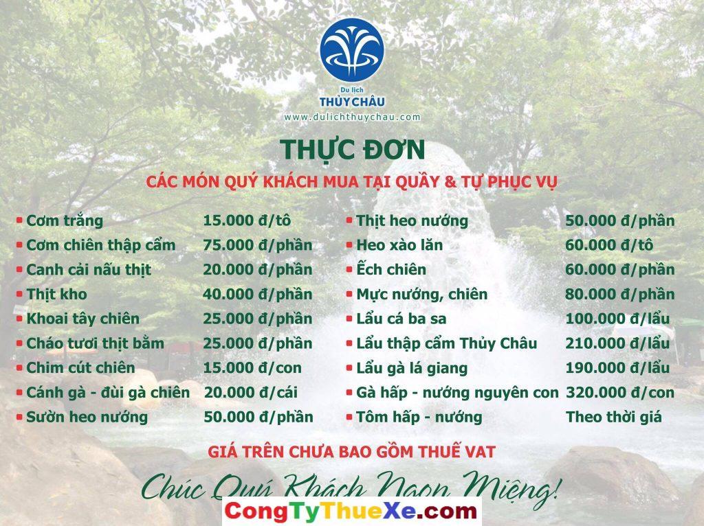 Giá đồ ăn tại du lịch Thủy Châu