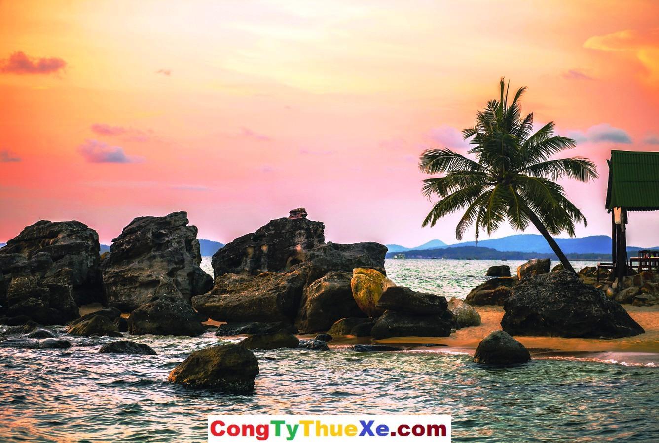 Beach at sunset at Phu Quoc island  in Vietnam