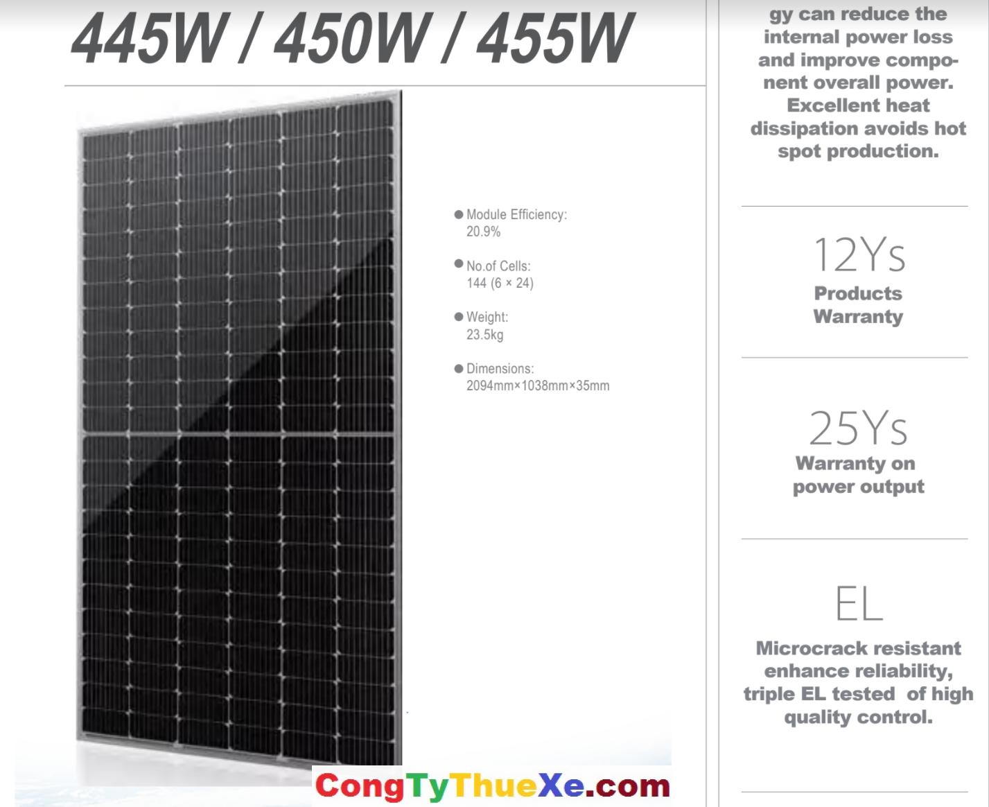 Pin năng lượng mặt trời HT-SAAE 450W Mono 9 Busbar Halfcell – HT72-166M –