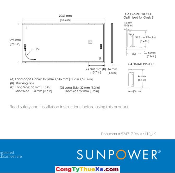 tấm pin mặt trời sunpower 405w vip 2