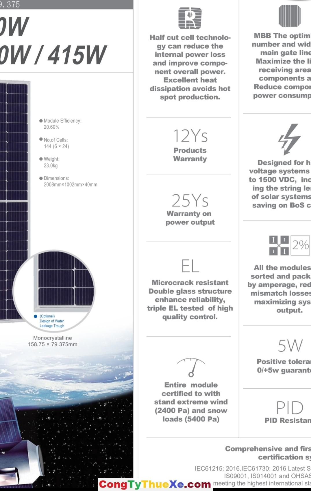 tấm pin năng lượng mặt trời htsaae 12 busbar 400w data bảo hành