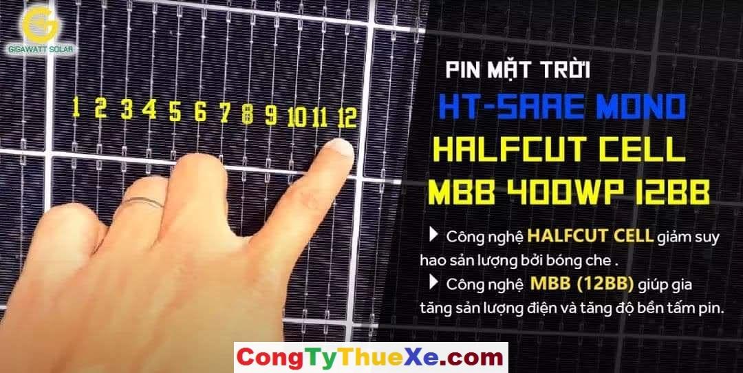 tấm pin năng lượng mặt trời htsaae 12 busbar 400w xịn